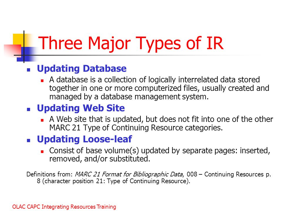 Three Major Types of IR Updating Database Updating Web Site
