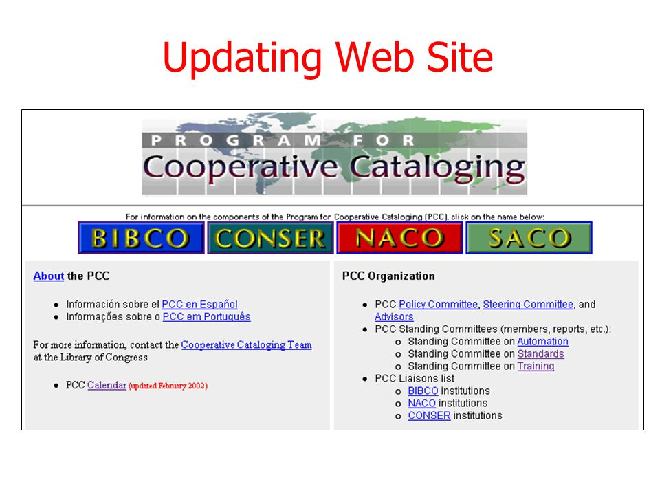 Updating Web Site January 2003