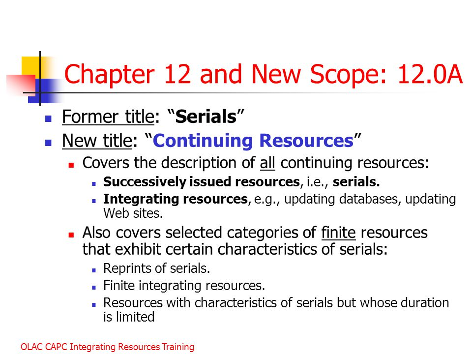 Chapter 12 and New Scope: 12.0A