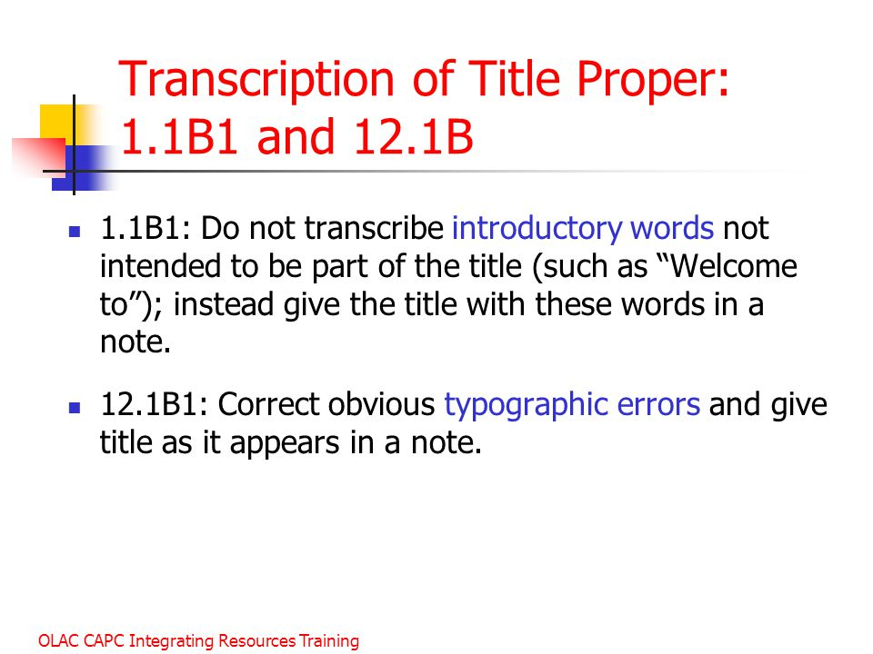 Transcription of Title Proper: 1.1B1 and 12.1B