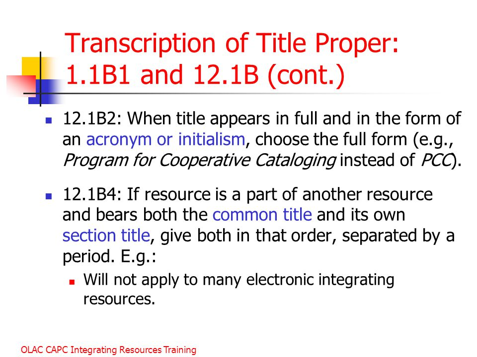 Transcription of Title Proper: 1.1B1 and 12.1B (cont.)
