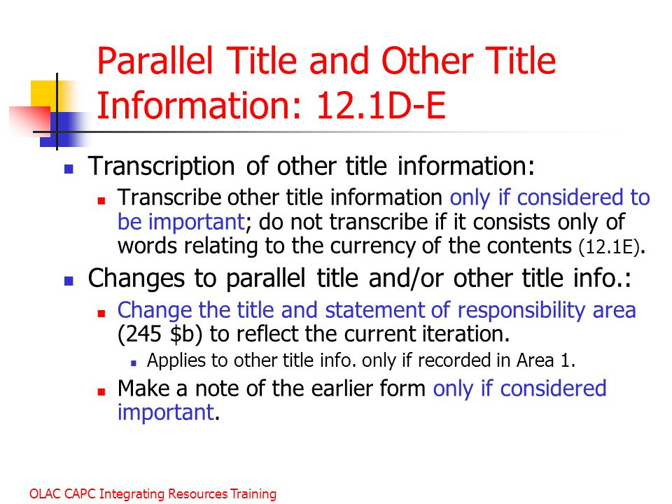 Parallel Title and Other Title Information: 12.1D-E