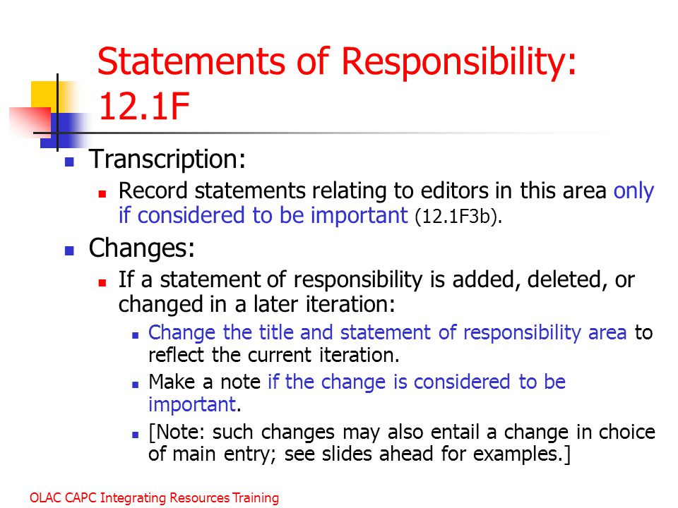 Statements of Responsibility: 12.1F