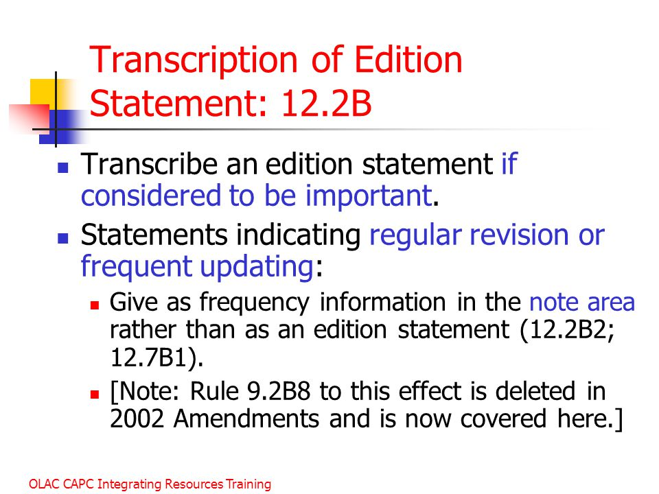 Transcription of Edition Statement: 12.2B