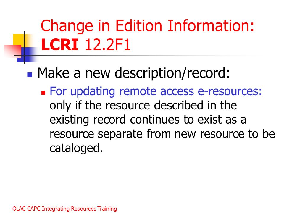 Change in Edition Information: LCRI 12.2F1