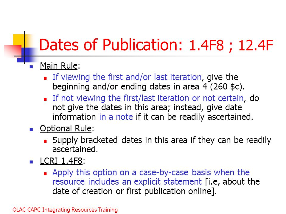 Dates of Publication: 1.4F8 ; 12.4F