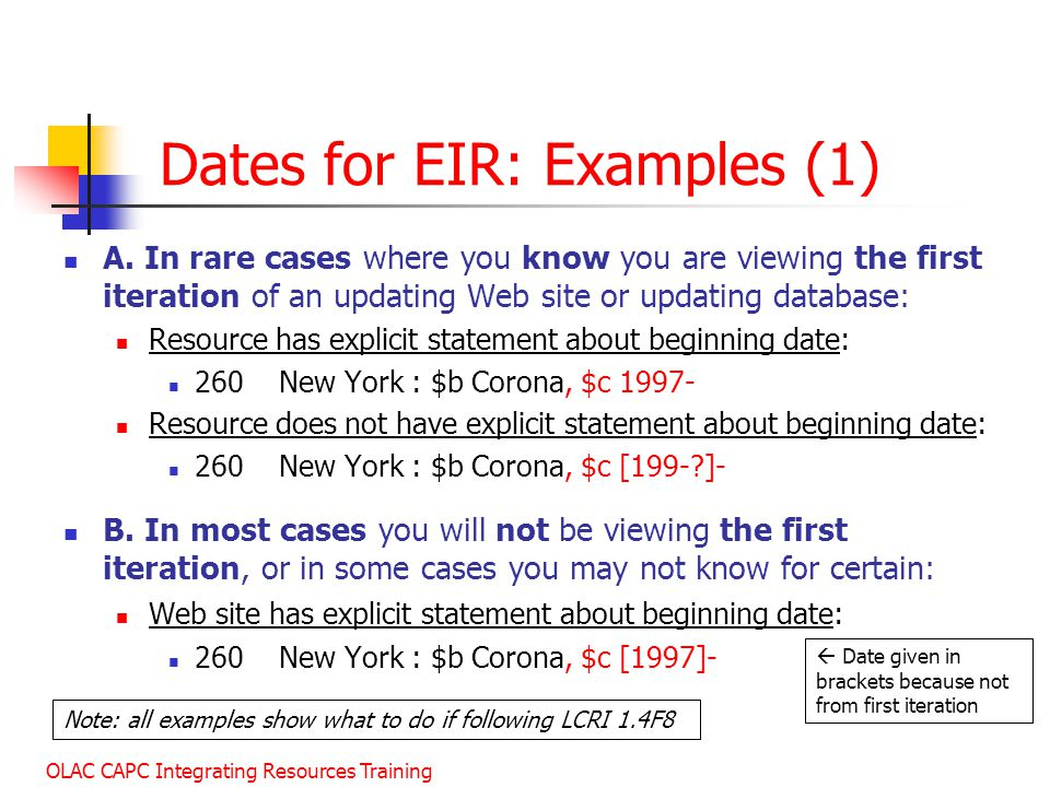 Dates for EIR: Examples (1)