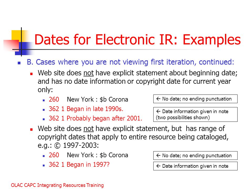 Dates for Electronic IR: Examples