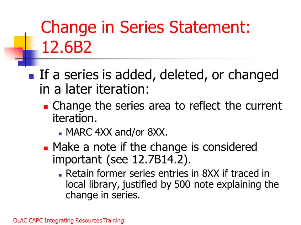 Change in Series Statement: 12.6B2