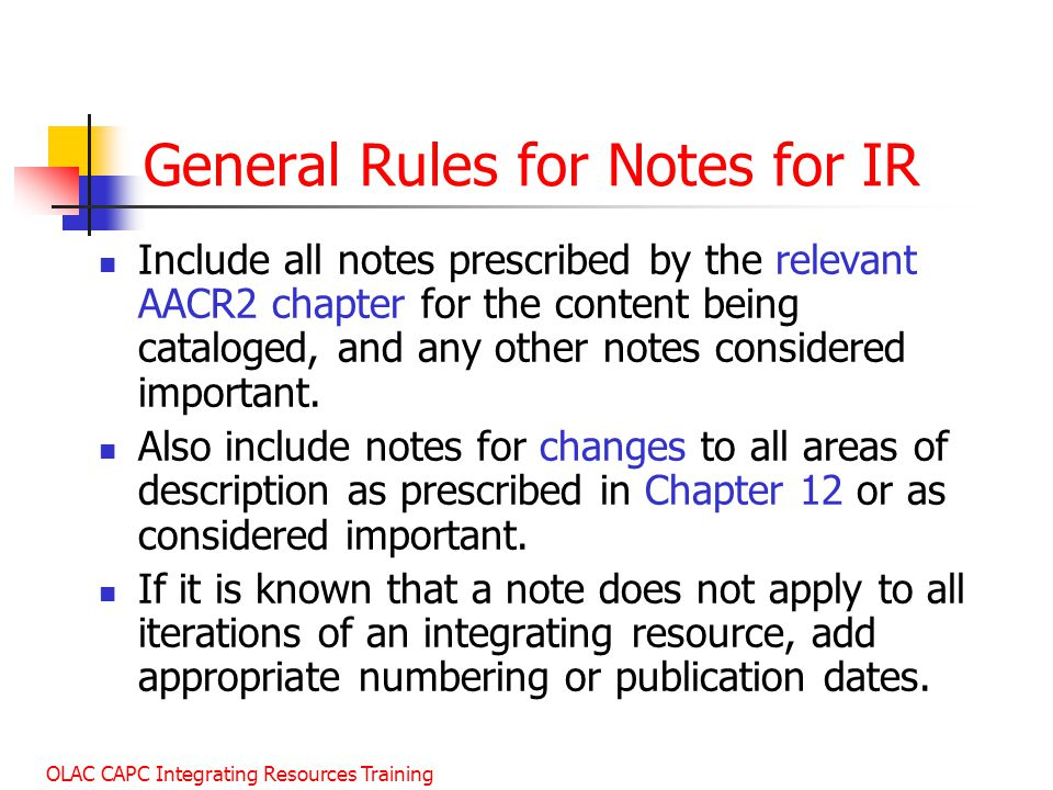 General Rules for Notes for IR