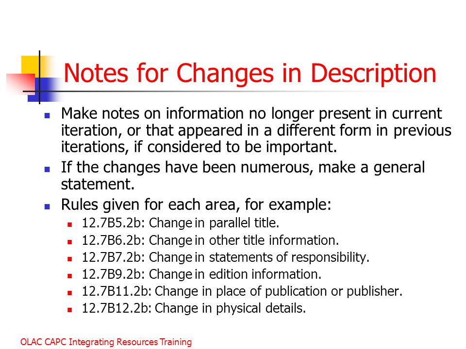 Notes for Changes in Description