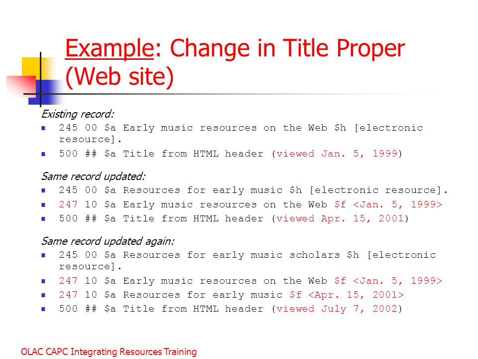 Example: Change in Title Proper (Web site)
