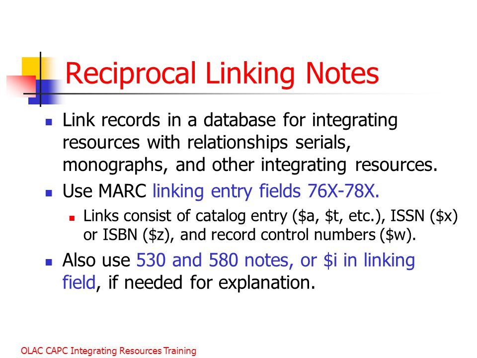 Reciprocal Linking Notes