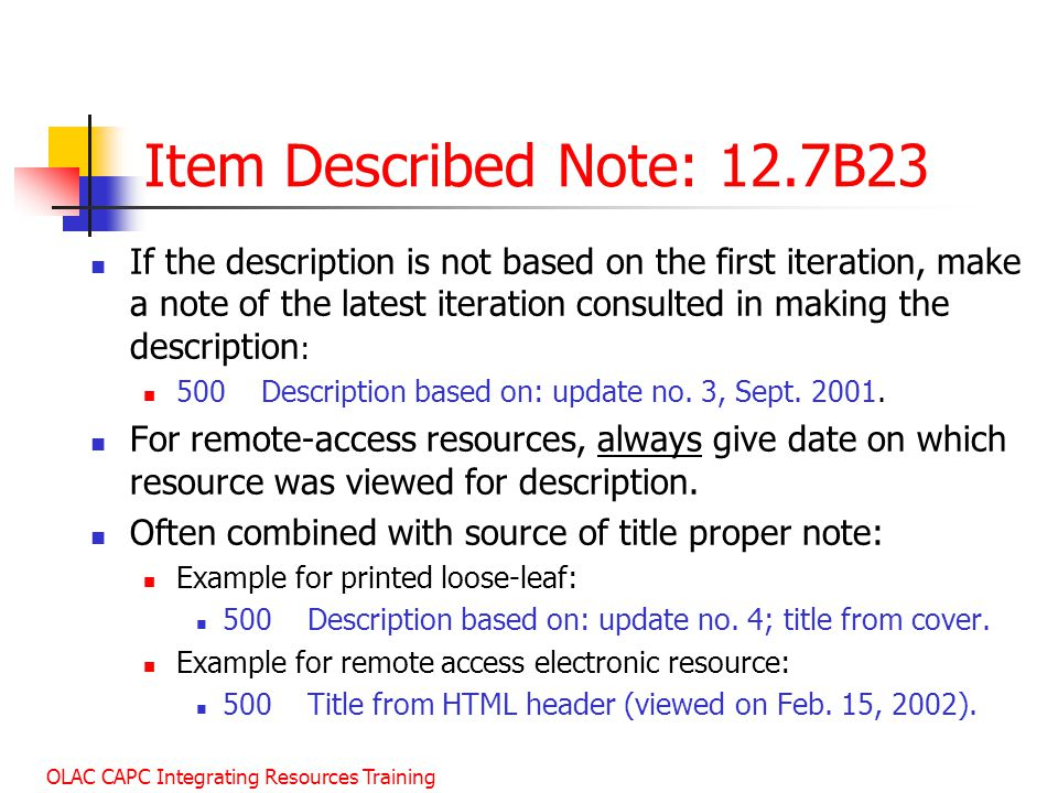 January 2003 Item Described Note: 12.7B23.