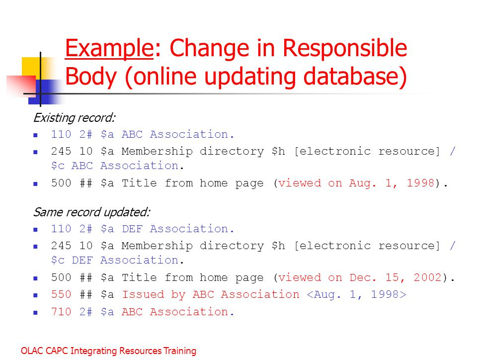 Example: Change in Responsible Body (online updating database)