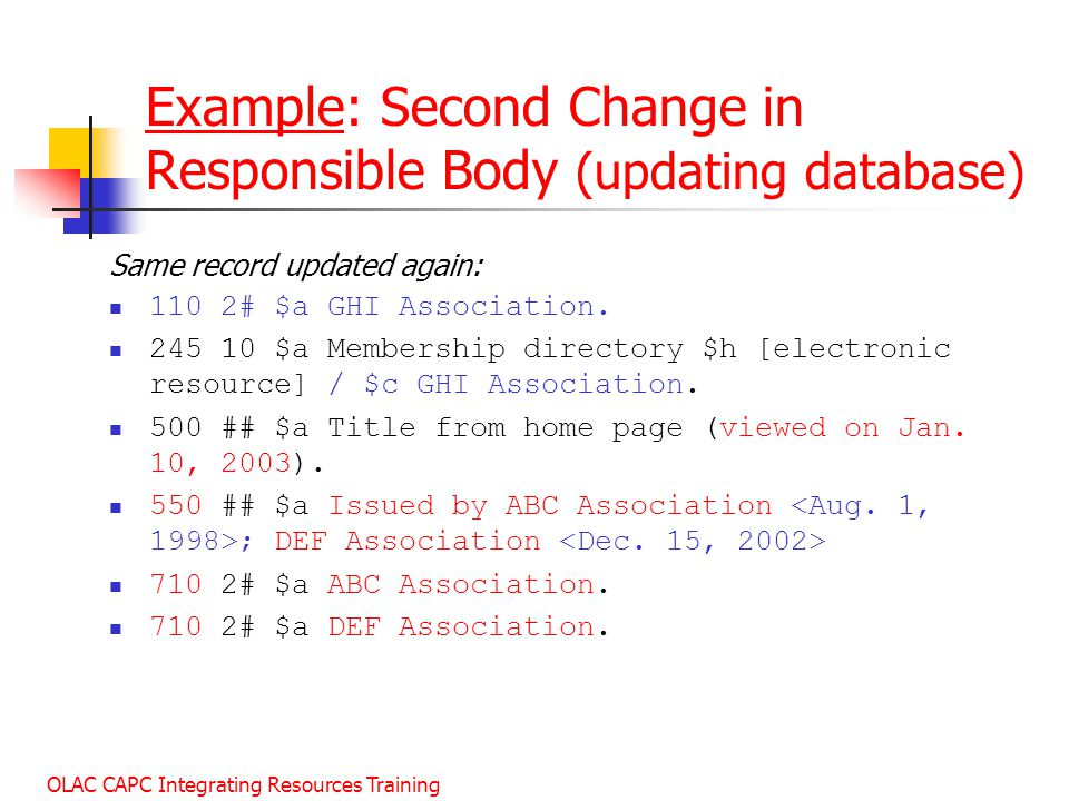 Example: Second Change in Responsible Body (updating database)