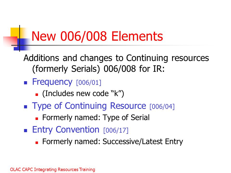 January 2003 New 006/008 Elements. Additions and changes to Continuing resources (formerly Serials) 006/008 for IR: