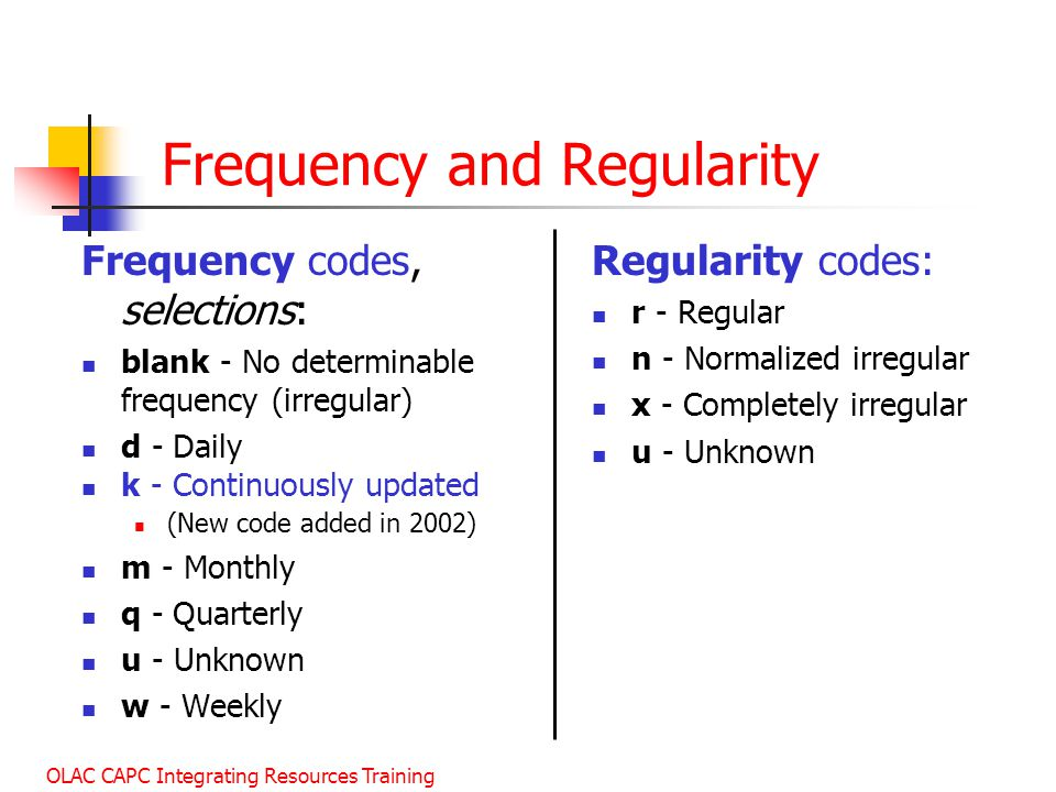 Frequency and Regularity