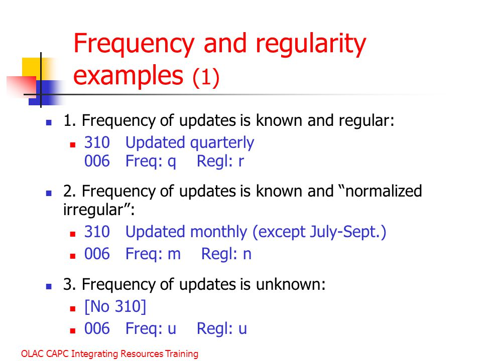 Frequency and regularity examples (1)