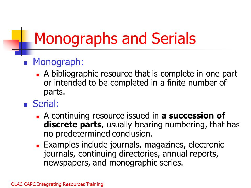 Monographs and Serials