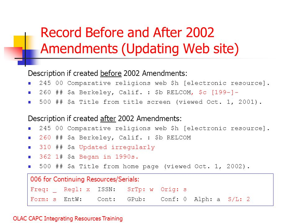 Record Before and After 2002 Amendments (Updating Web site)