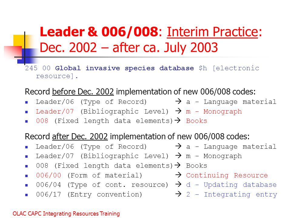 Leader & 006/008: Interim Practice: Dec. 2002 – after ca. July 2003