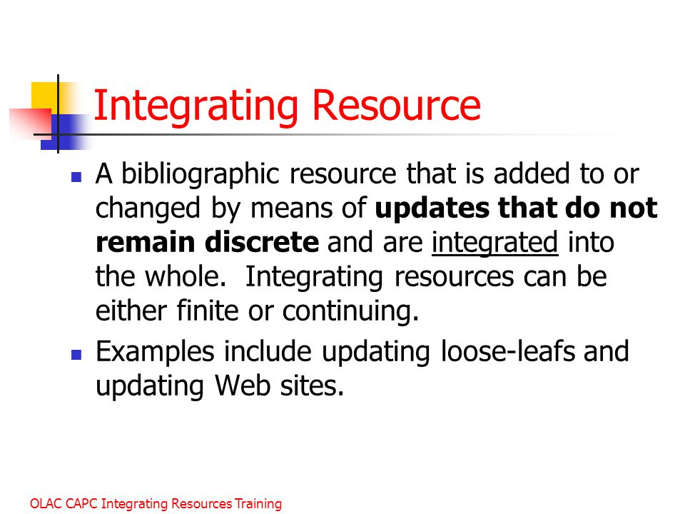 Integrating Resource