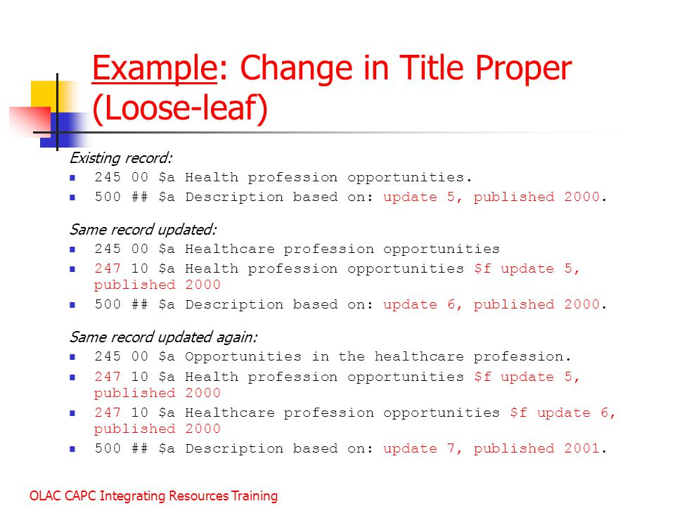 Example: Change in Title Proper (Loose-leaf)