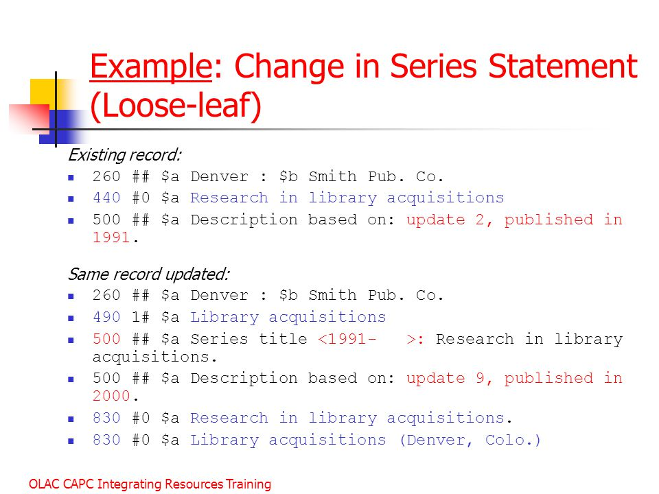 Example: Change in Series Statement (Loose-leaf)