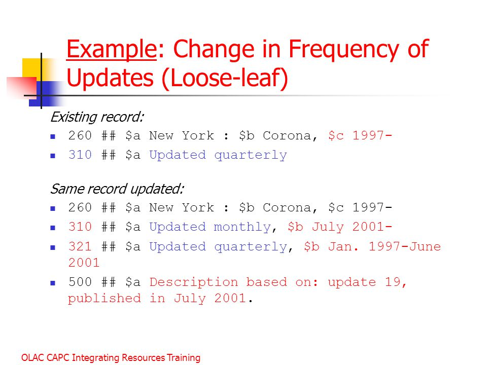 Example: Change in Frequency of Updates (Loose-leaf)