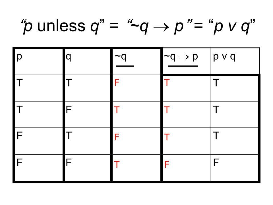 p unless q = ~q  p = p v q