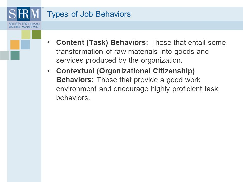 Types of Job Behaviors