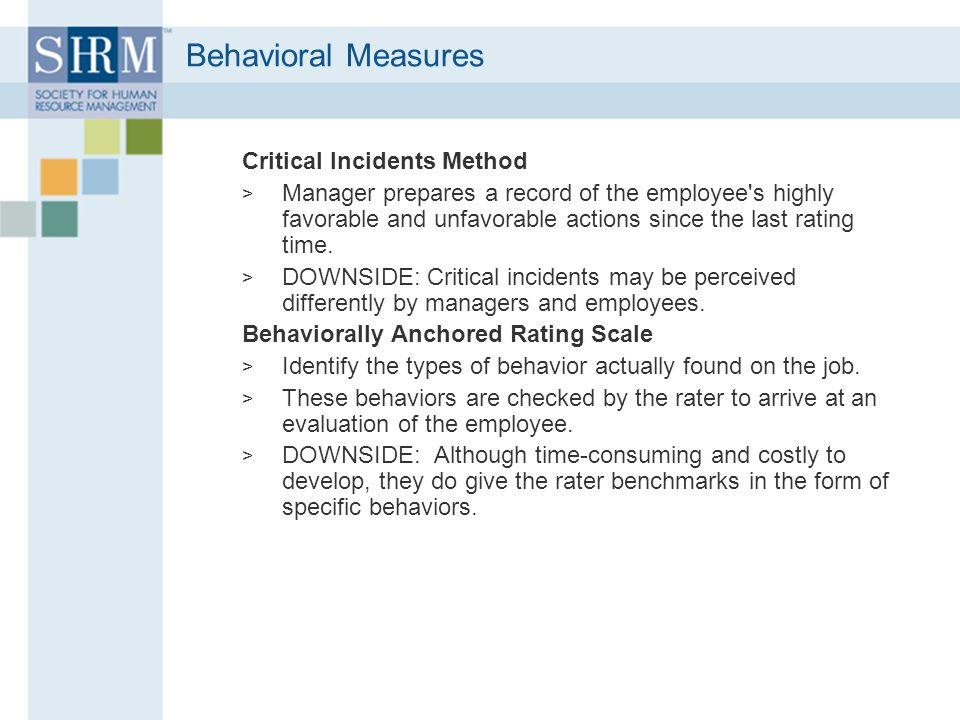 Behavioral Measures Critical Incidents Method