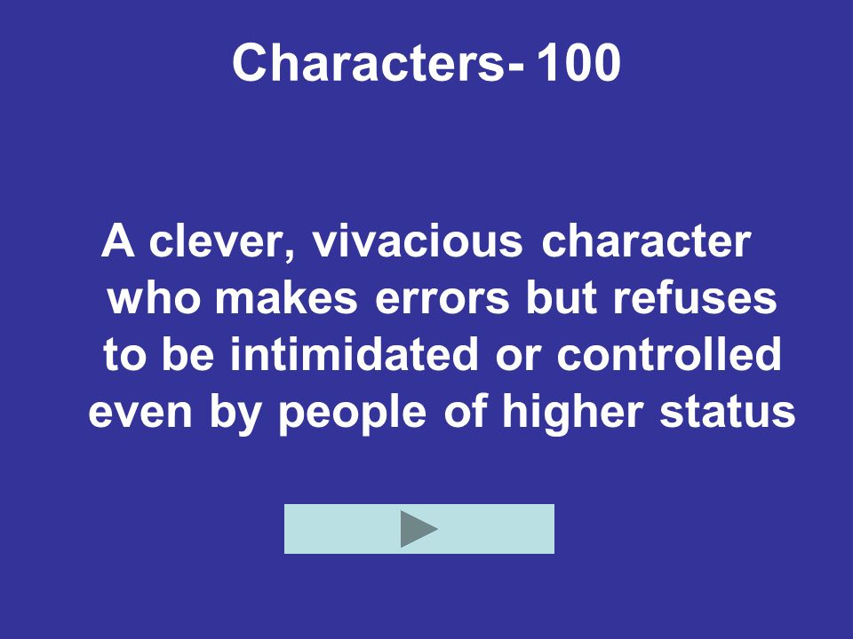Characters- 100 A clever, vivacious character who makes errors but refuses to be intimidated or controlled even by people of higher status.