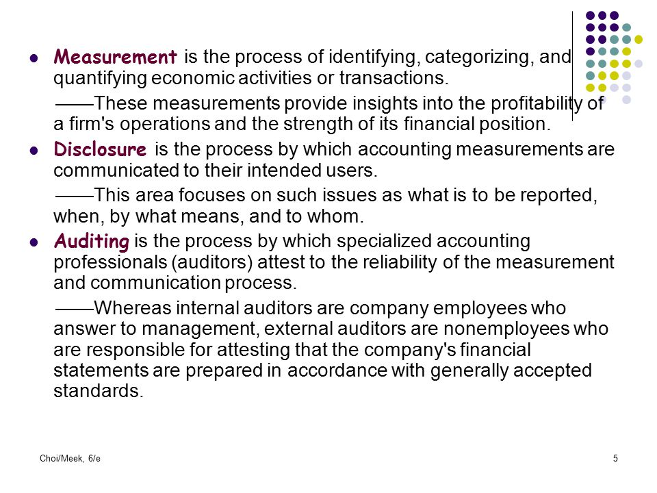 Measurement is the process of identifying, categorizing, and quantifying economic activities or transactions.