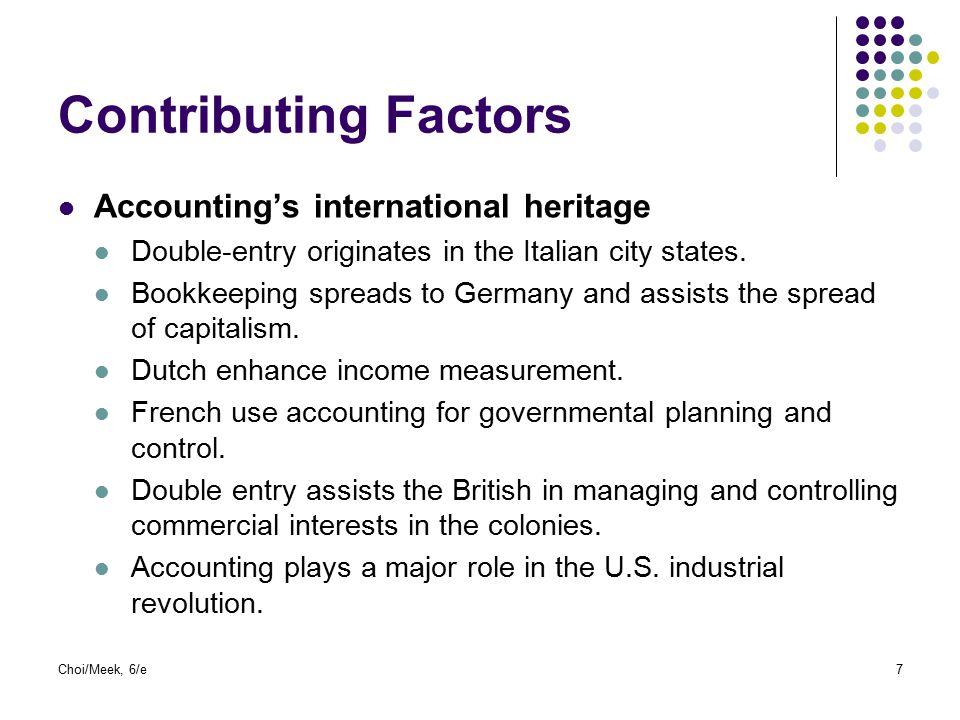 Contributing Factors Accounting's international heritage