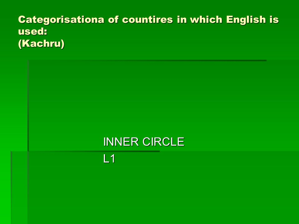 Categorisationa of countires in which English is used: (Kachru)