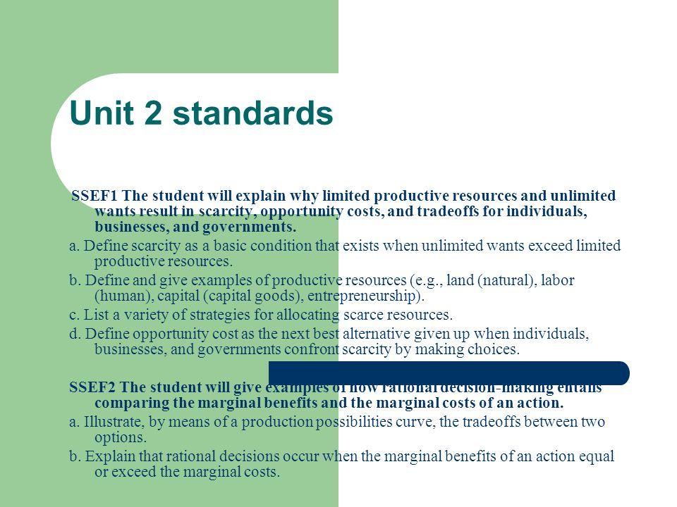 Unit 2 standards
