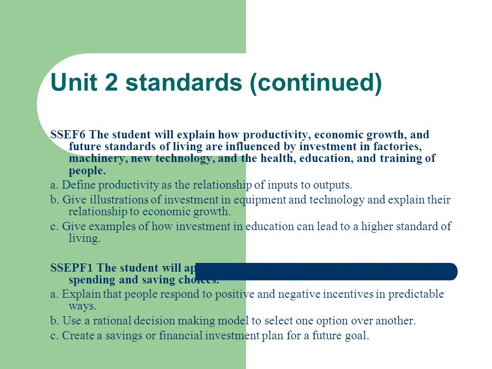 Unit 2 standards (continued)
