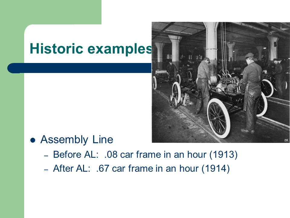 Historic examples Assembly Line