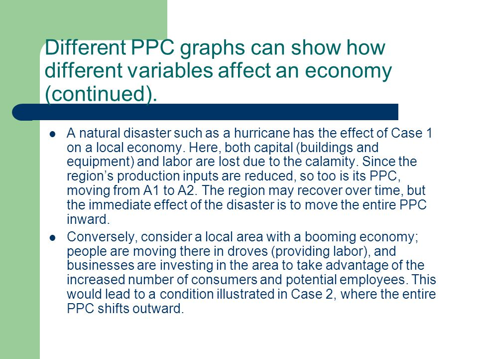 Different PPC graphs can show how different variables affect an economy (continued).