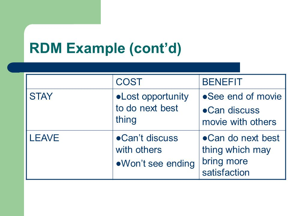 RDM Example (cont'd) COST BENEFIT STAY