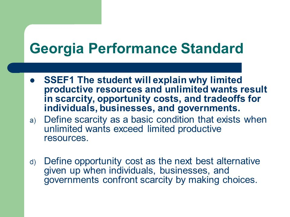Georgia Performance Standard