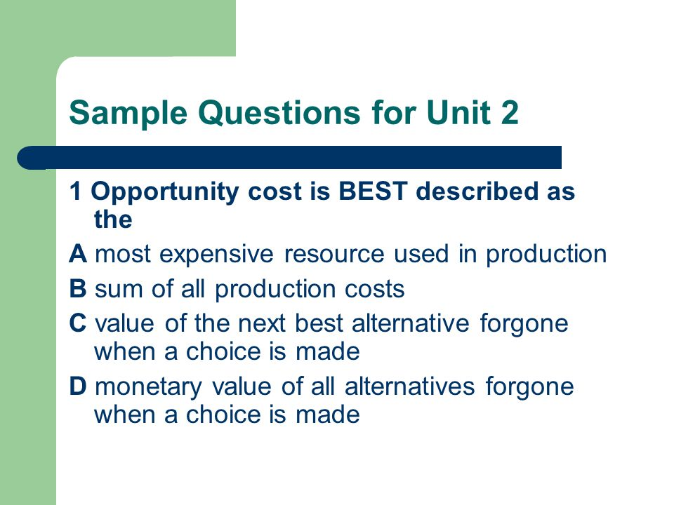 Sample Questions for Unit 2