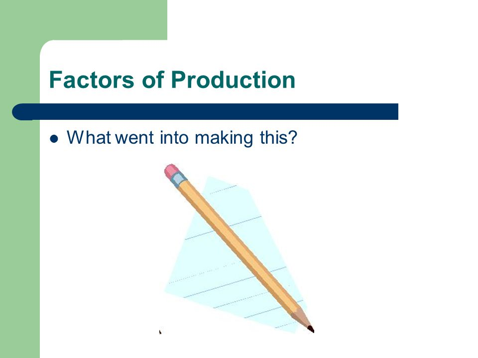 Factors of Production What went into making this 6