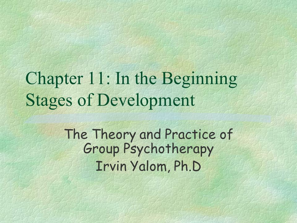 Chapter 11: In the Beginning Stages of Development