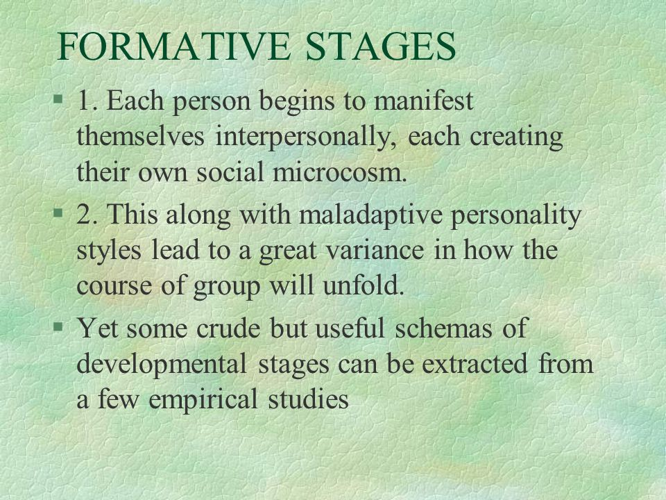 FORMATIVE STAGES 1. Each person begins to manifest themselves interpersonally, each creating their own social microcosm.