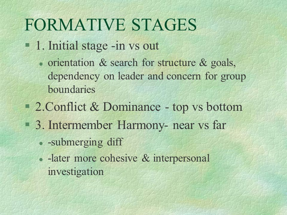 FORMATIVE STAGES 1. Initial stage -in vs out