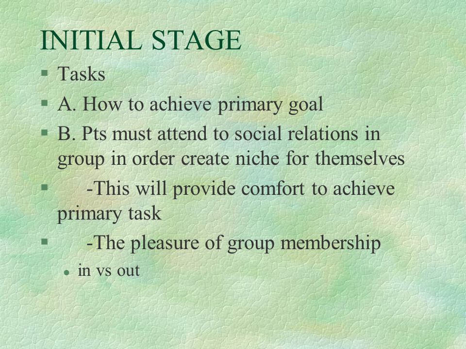 INITIAL STAGE Tasks A. How to achieve primary goal