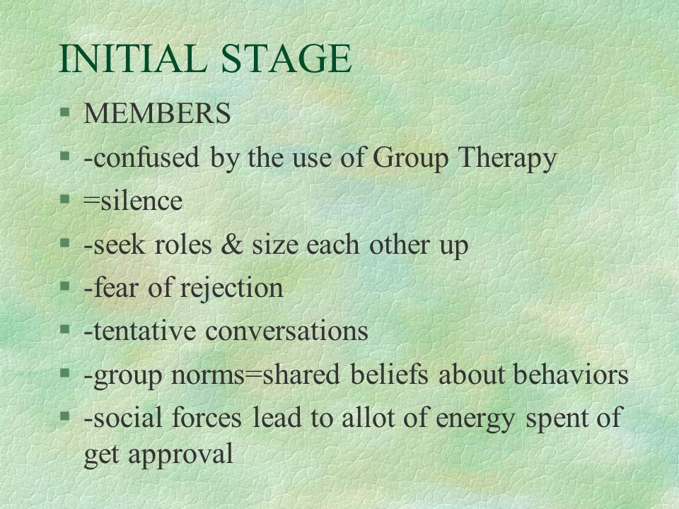 INITIAL STAGE MEMBERS -confused by the use of Group Therapy =silence